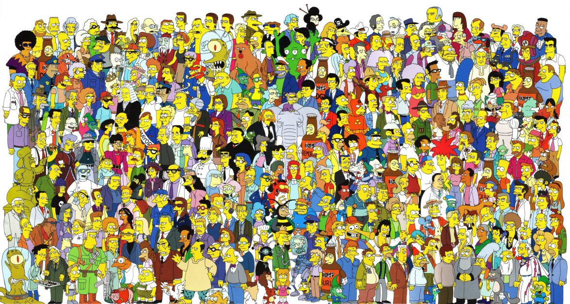 Lots of Simpson characters illustrating multiple audiences
