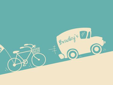 Graphic design showcasing delivery to Bradley's supermarket, a store selling goods in Quorn.