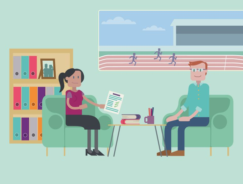 Illustrated scene from an animation for Loughborough University School of Business