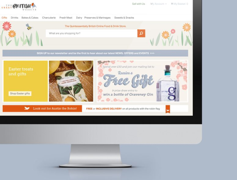 Web design and development for The Great British Website, an ecommerce website selling British food and produce.
