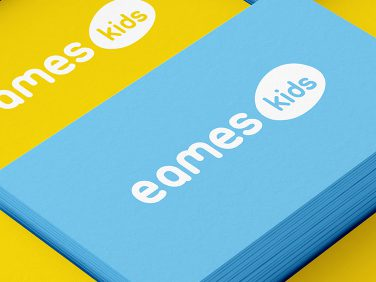 Business card for Eames Kids, creating a brand for this offshoot of Vertigo Interiors' furniture design
