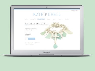Ecommerce website for Kate Chell, showcasing the jewellery collections of hammered silver and sea glass.