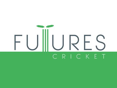 Logo for Futures cricket with cricket stumps and bails.