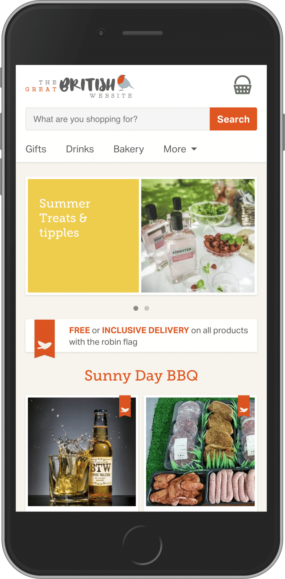 An ecommerce website for The Great British Website selling British food and produce.