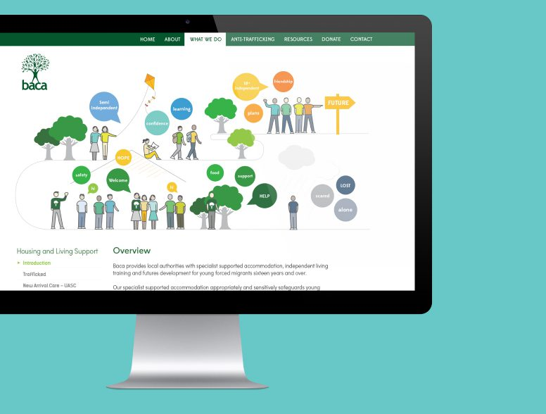 A website on an iMac with a large illustration covering what Baca does through new arrival care, semi independent and moving to independence.