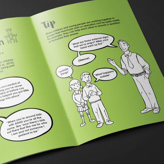 Illustration of adults and children having a conversation about ADHD. Part of a booklet for ADHD solutions.