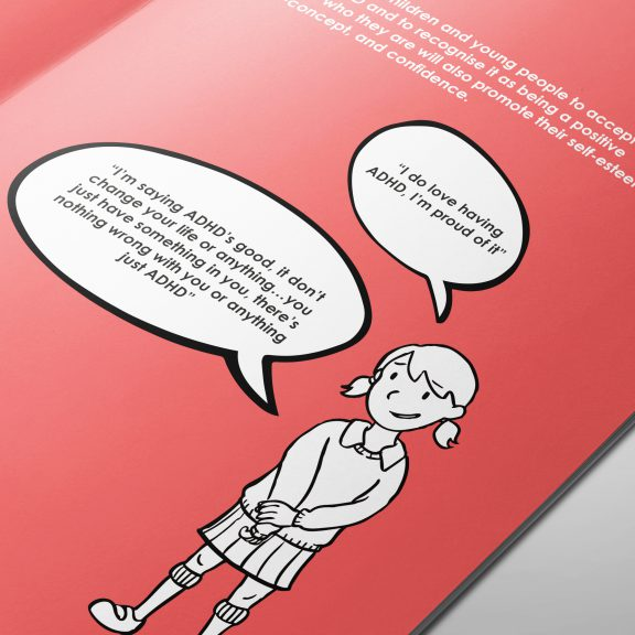 Print book design with an illustration for ADHD Solutions, a charity working with children, based in Leicestershire.