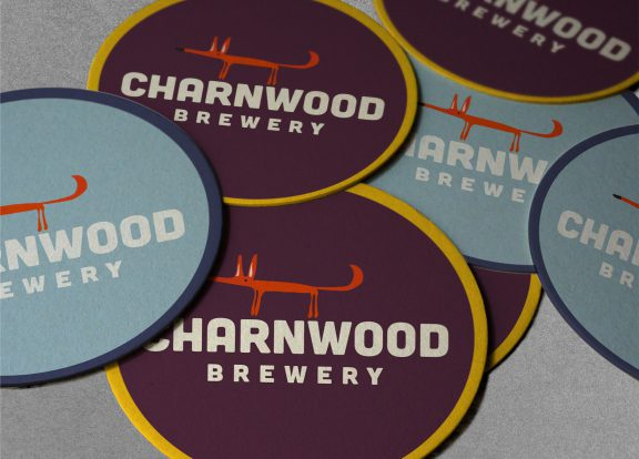 Brand identity and beer mat designs for Charnwood Brewery, a Loughborough local brewery.