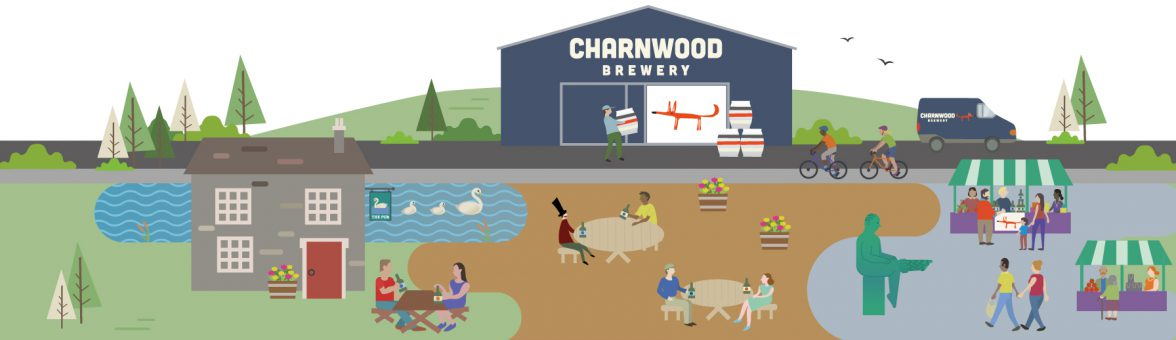 Illustrative scene of Charnwood Brewery and it's surroundings
