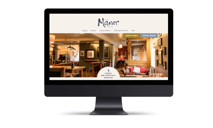 Website design for The Manor House restaurant with rooms in Quorn - showcasing the homepage, and a photograph of the bar.