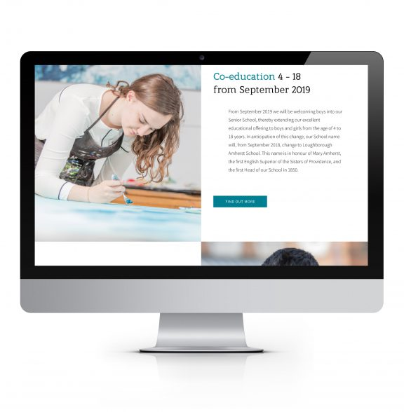 Amherst school Loughborough website design grid photography