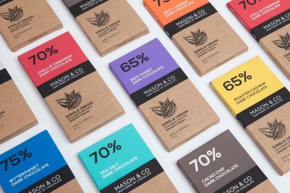 Chocolate packaging for Mason and Co, simple type based