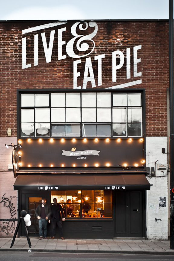 Pieminister shop, Live and Eat pie plastered on the frontage.
