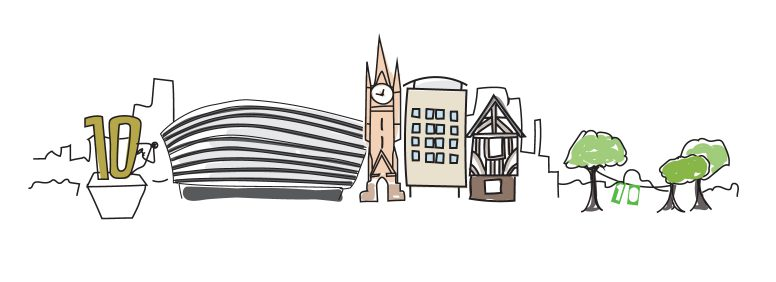 Illustration of city landmarks for the footer of Creative calling blog.