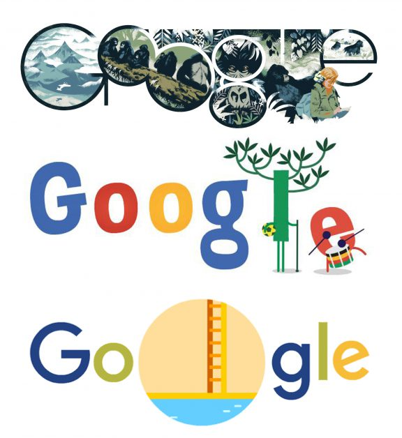 Google idents (the google doodle), changing in typography and illustration.