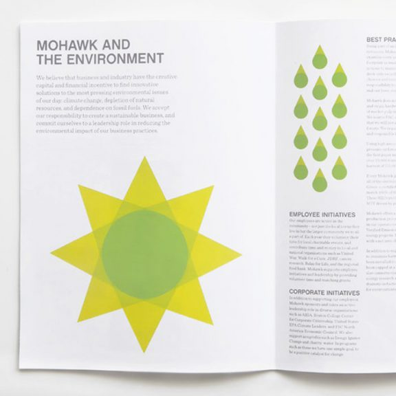 An open page showing the flexible brand for Mohawk on printed material.