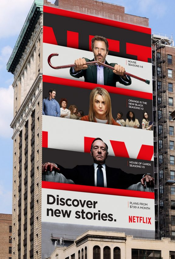 Flexible brands - Netflix billboards on the side of a building.