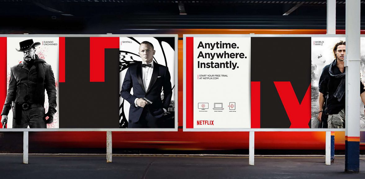Flexible brands - Netflix posters - recognisable without the logo.