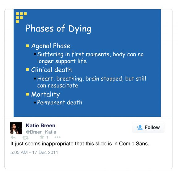 Slide about the phases of dying written in Comic Sans