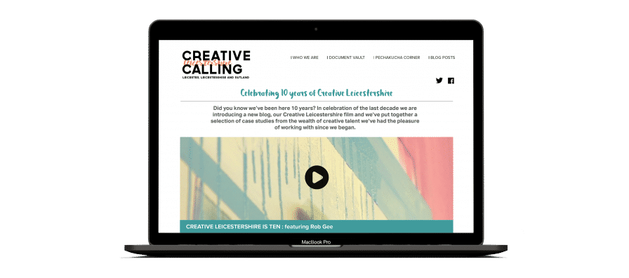 Web design and development for the Creative Calling blog showcasing events and talent across Leicestershire.