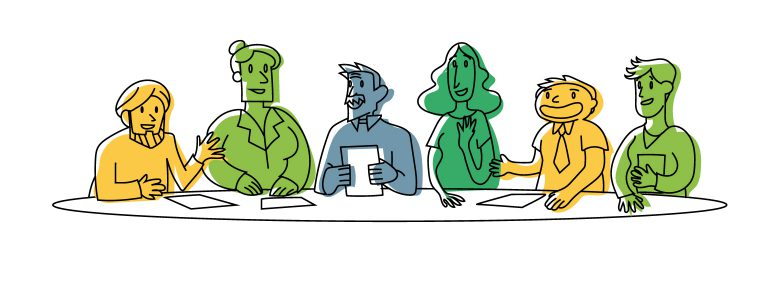 Barnardos Learning Organisation illustration of employees sitting around a table.