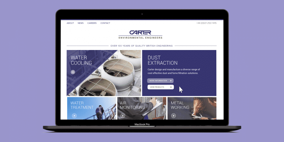 Homepage for Carters - British engineering focusing on water cooling and dust extraction.