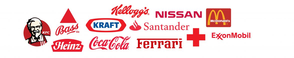 Which sectors are popular with red logos? Cars, banks and fast food.