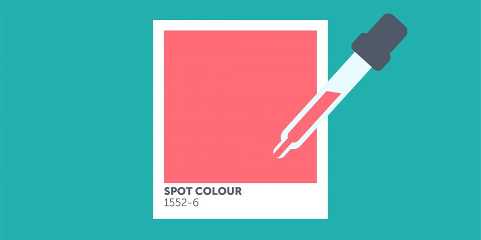 Design of a Pantone colour, which illustrates a spot colour being picked by the eyedropper tool in Photoshop or Illustrator.